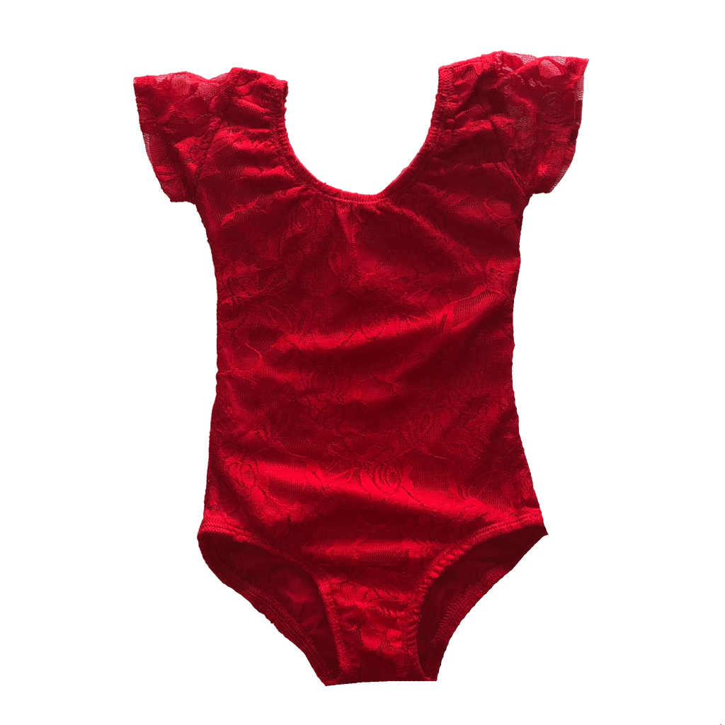 Red Lace Cap Sleeve Leotard (Short Sleeve) - Morgan+Mae Co.