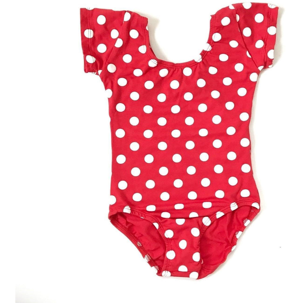 Red & White Polka Dot Short Sleeve Leotard - Morgan+Mae Co.