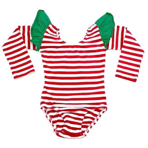 Holiday Red & White Stripe w/ Green Flutter Long Sleeve Leotard - Morgan+Mae Co.