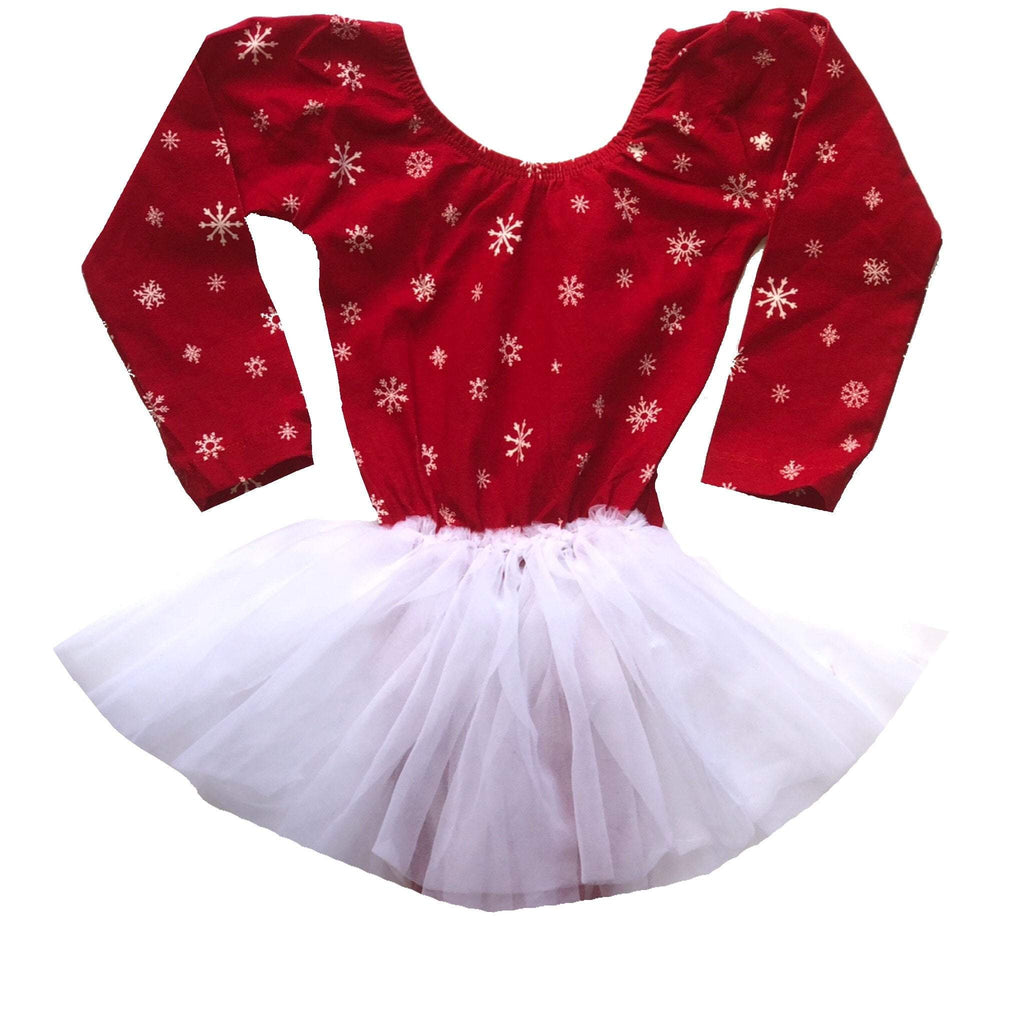 Morgan+Mae Co. Leotard Snowflake with White Chiffon Tutu Dress leotard- Long Sleeve