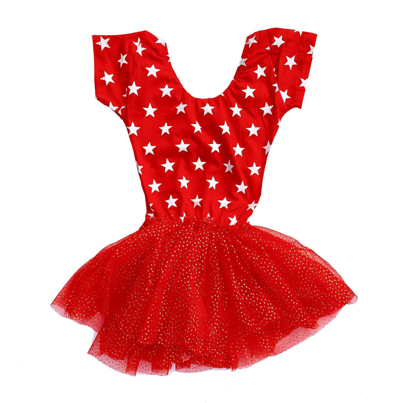 Morgan+Mae Co. Leotard Stars Cap Sleeve Tutu Dress Leotard