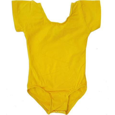 Sunshine Yellow Cap Sleeve Leotard (Short Sleeve) - Morgan+Mae Co.