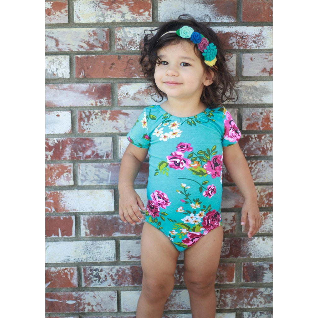 Morgan+Mae Co. Leotard Teal Floral Cap Sleeve Leotard (Short Sleeve)