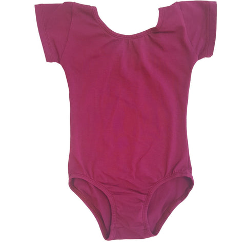 Wine/Cranberry Cap Sleeve Leotard (Short Sleeve) - Morgan+Mae Co.