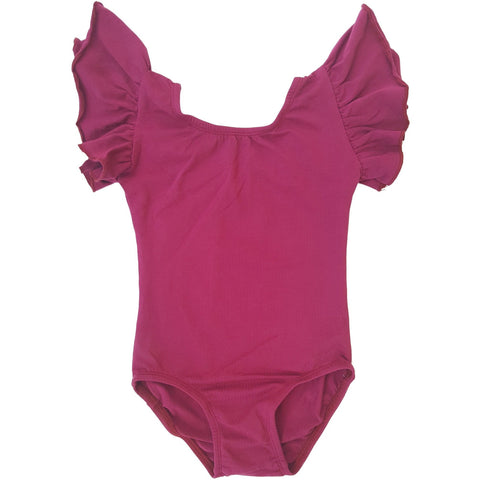 Wine/Cranberry Flutter Sleeve Leotard (Ruffle Sleeve) - Morgan+Mae Co.