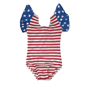 Stars & stripes flutter Sleeve Leotard (ruffle Sleeve)