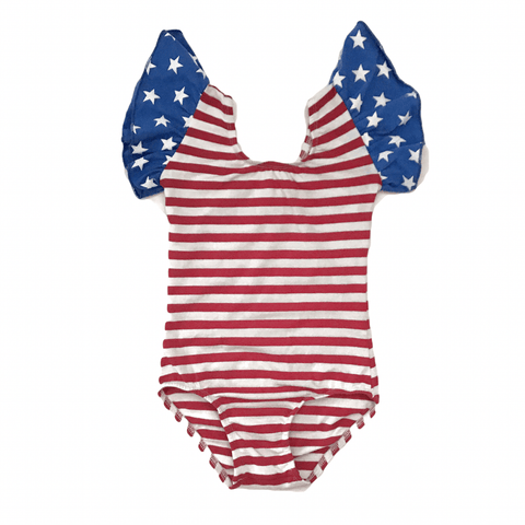 Stars & stripes flutter Sleeve Leotard (ruffle Sleeve) - Morgan+Mae Co.