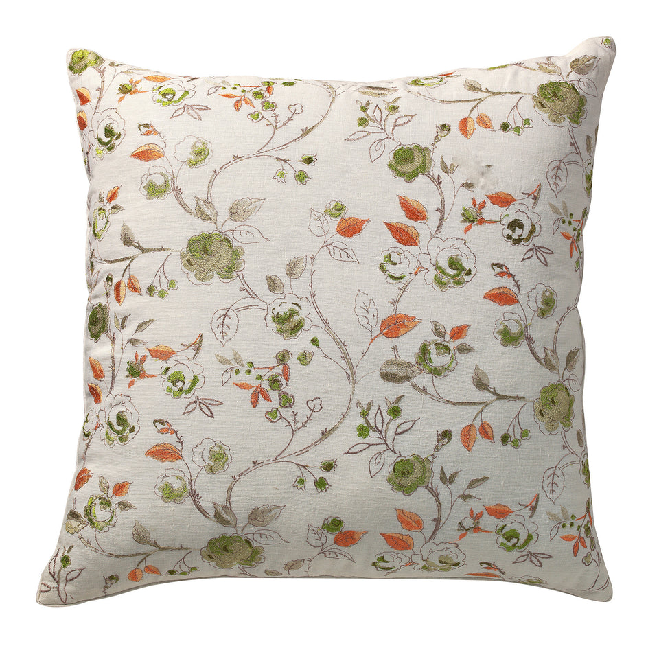 Bouquet Floral Embroidery Deco Pillow