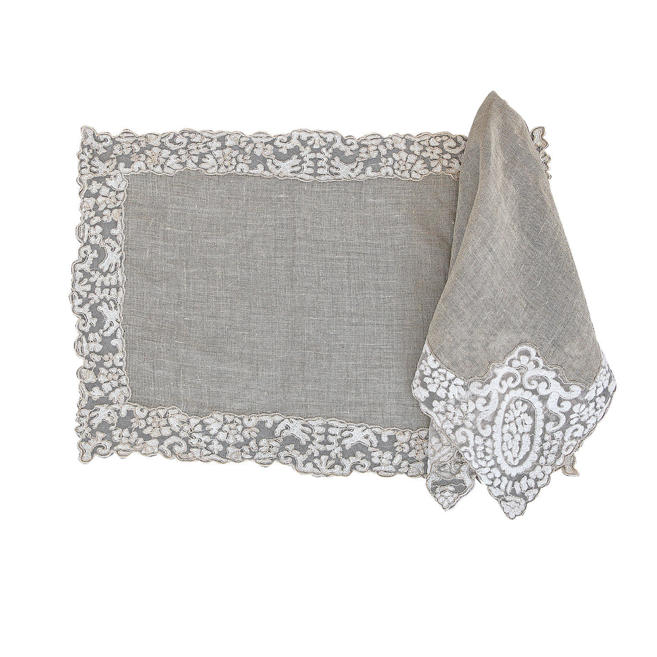 Rosa Lace Scalloped Linen Placemat