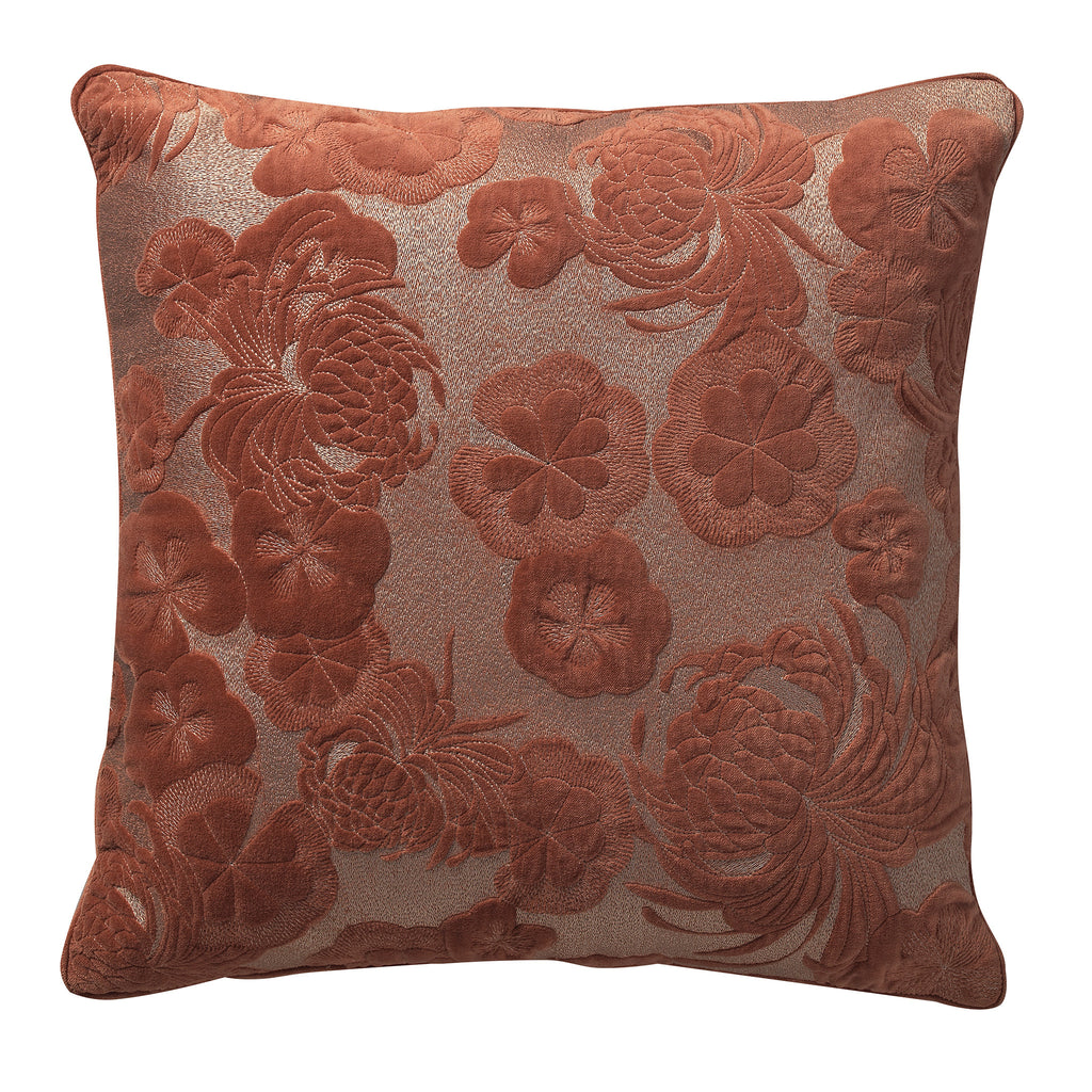 Gaufre Velvet Floral Embroidery Deco Pillow
