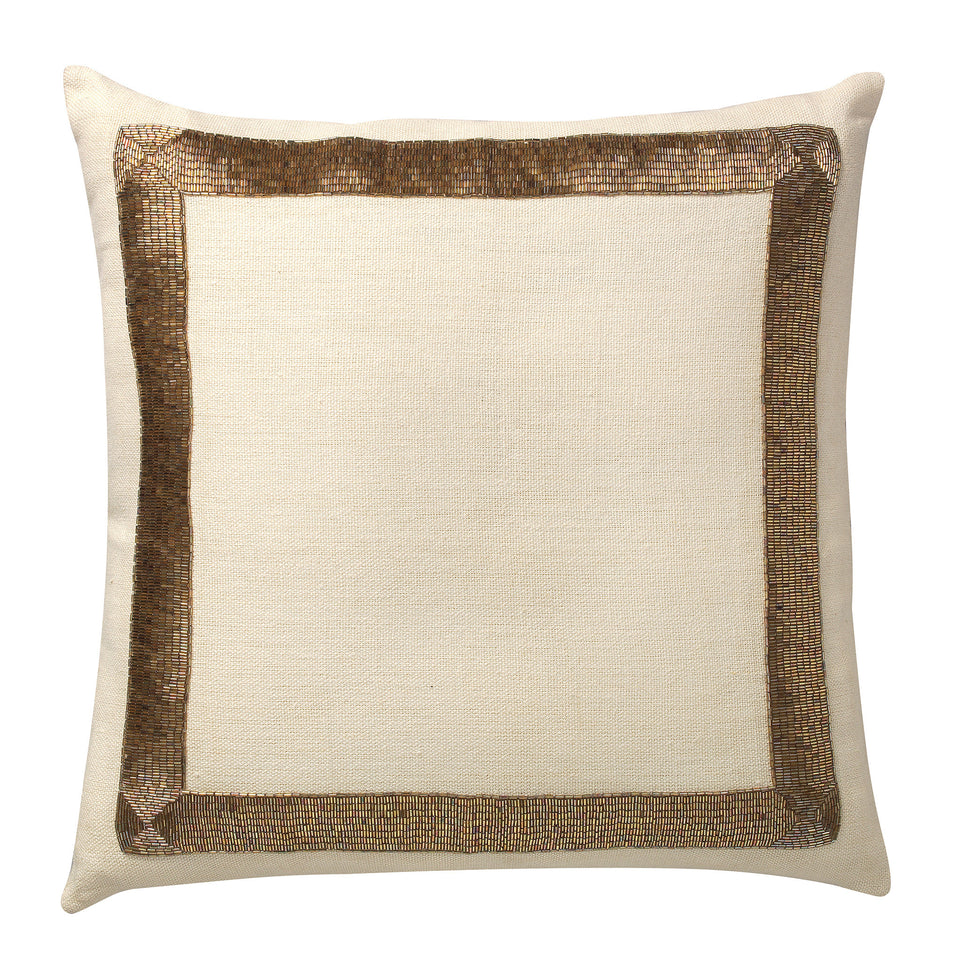 La Grille Beaded Hand Embroidered Deco Pillow