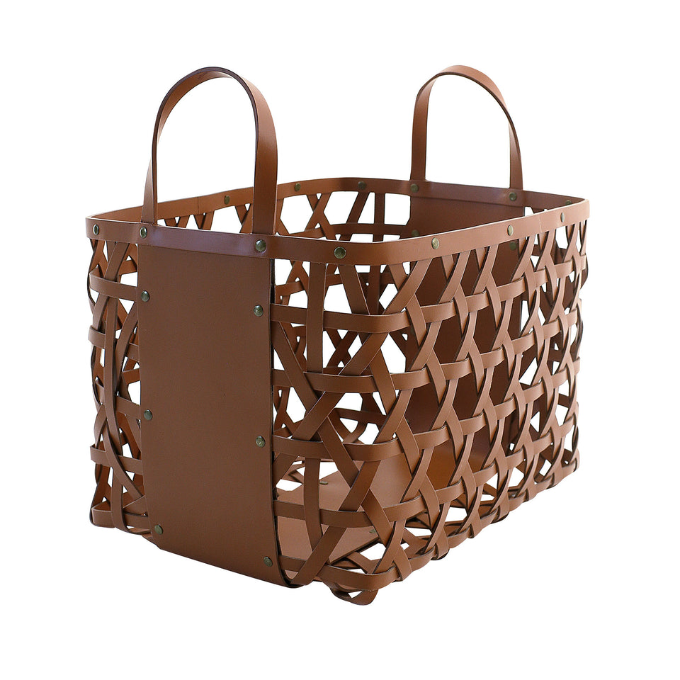 Aspen Leather Log Basket