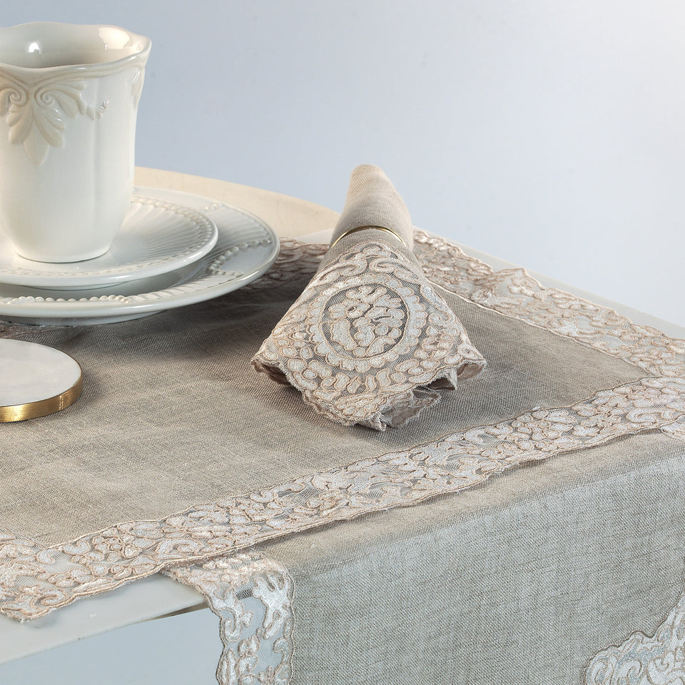 Rosa Lace Scalloped Linen Napkin