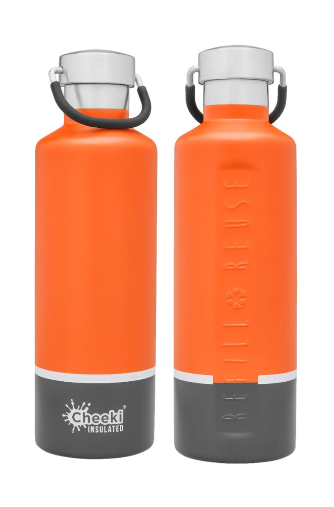 600ml Insulated Classic Bottle - Orange Grey
