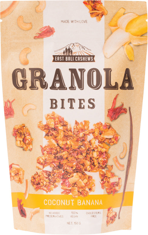 EAST BALI CASHEWS Granola Bites Coconut Banana 125g
