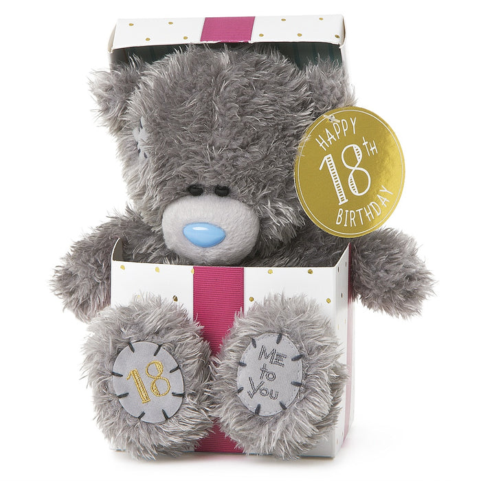 18TH BDAY BEAR IN BOX 18CM