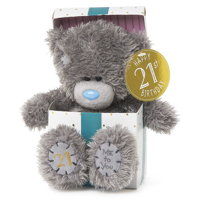 21ST BDAY BEAR IN BOX 18CM