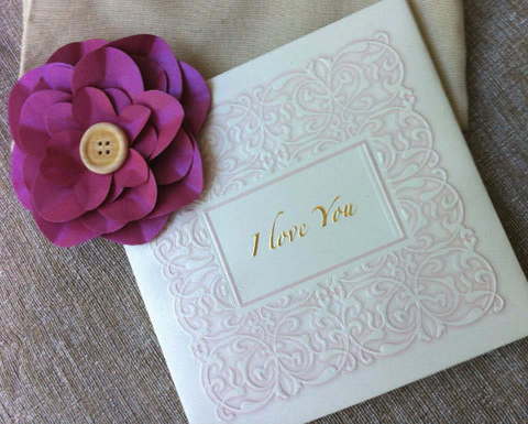Tiskanice Hardcover Greetings Card - I Love You (Embossed)