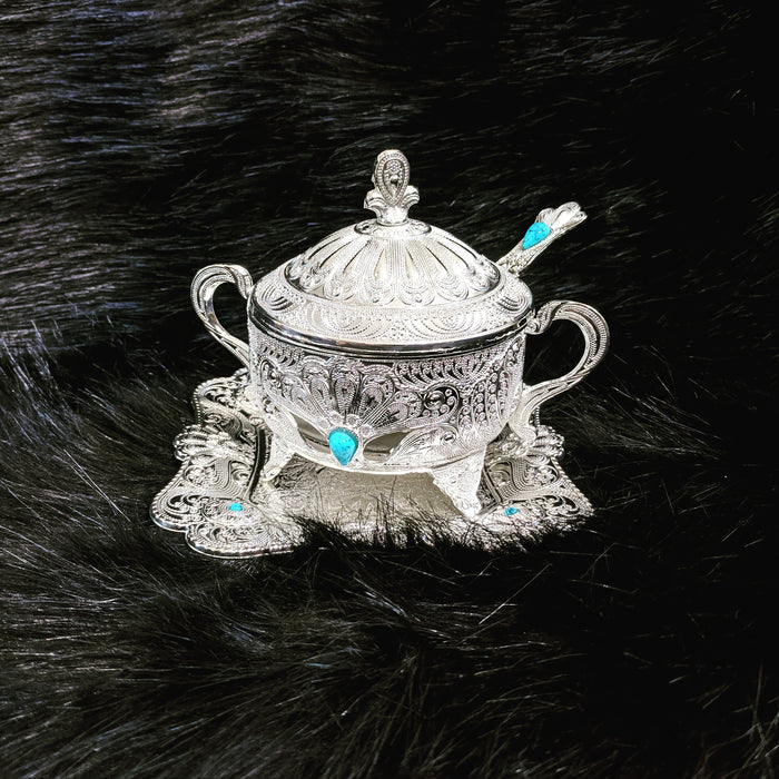 Lovely Persian Style Silver Sugar Bowl