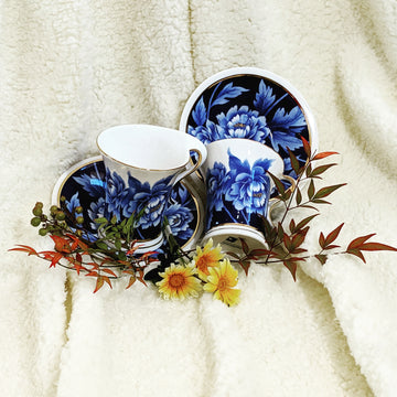 Blue Peony Cup and Saucer