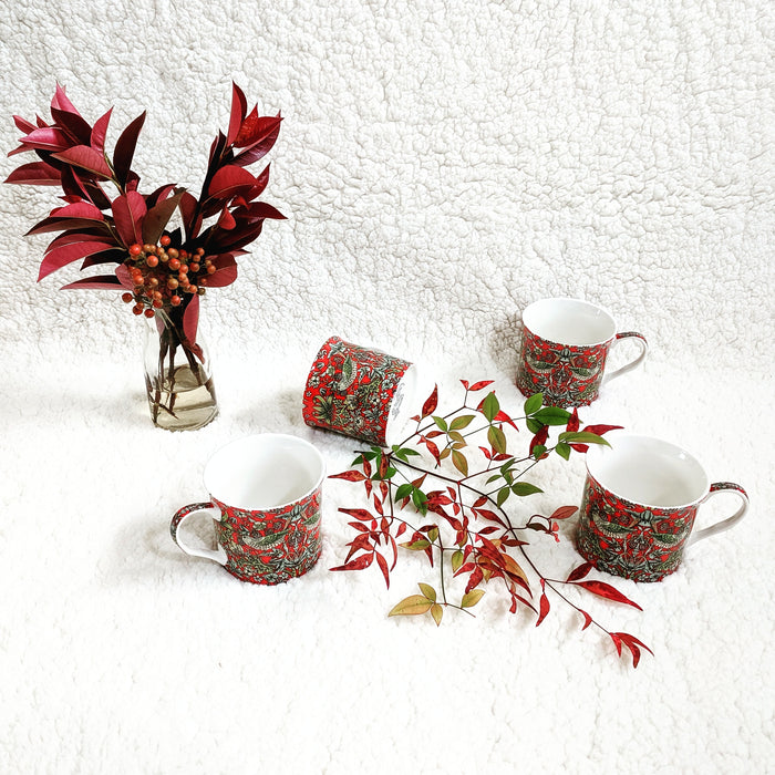Strawberry Finch Mugs Set