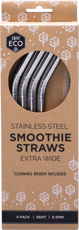 Ever Eco Smoothie Straws - Bent Stainless Steel + Cleaning Brush - 4