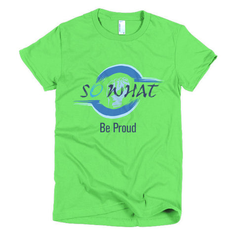 Round Clenched Solidarity Punch Be Proud SoWhat Blue White Round Women's Shirt - So What Online