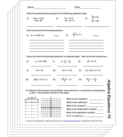 Algebra Equations Blackline or PDF