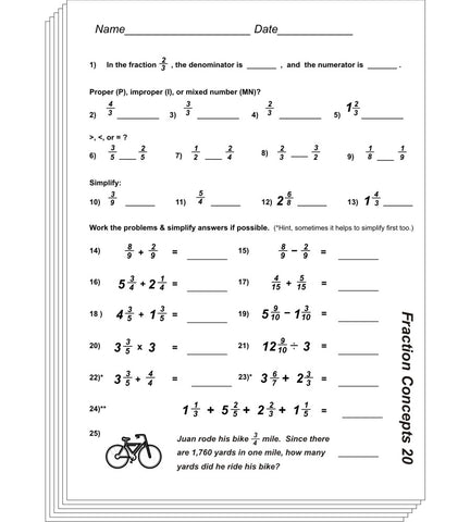 Fraction Concepts Blackline or PDF
