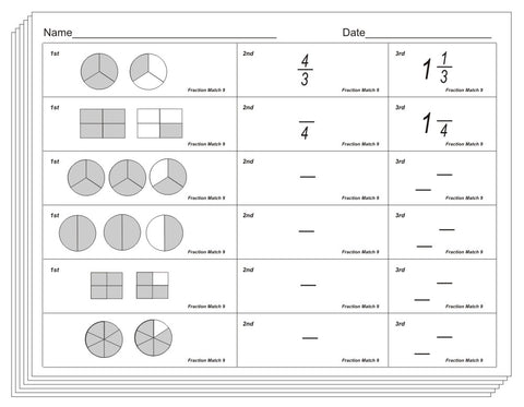 fraction match blackline conceptual learning materials