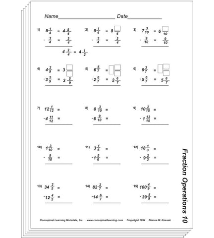 Fraction Operations Blackline or PDF