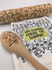 GIFT SET: Camping Fun Rolling Pin, Wooden Spoon and Dish Towel