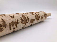 Moose, Bear, Dear and Mountain Scenery Rolling Pin