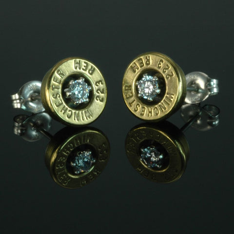 .223 Remington Bullet Earrings, Brass with Cubic Zirconia