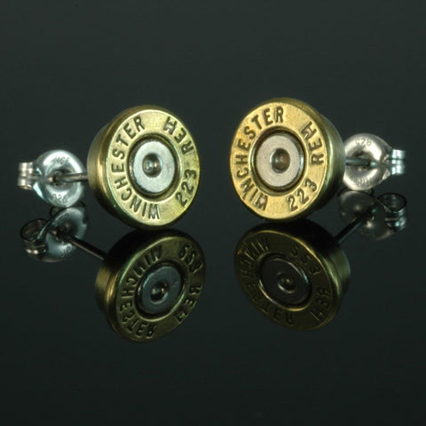 .223 Remington Bullet Earrings, Brass with Nickel Primers
