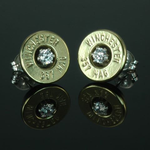 .357 Magnum Bullet Earrings, Brass with Cubic Zirconia
