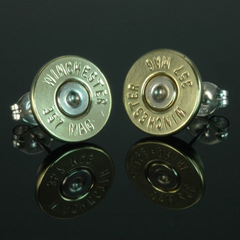 .357 Magnum Bullet Earrings, Brass with Nickel Primers