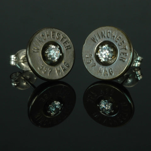 .357 Magnum Bullet Earrings, Brass Patina with Cubic Zirconia