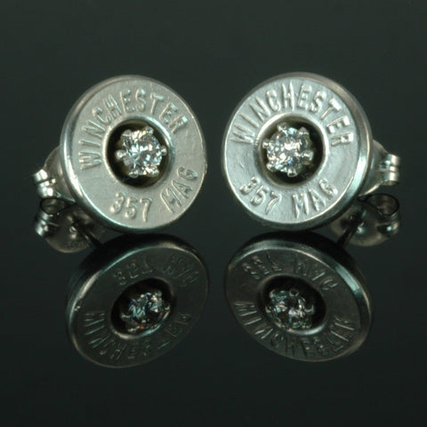 .357 Magnum Bullet Earrings, Silver Plated with Cubic Zirconia