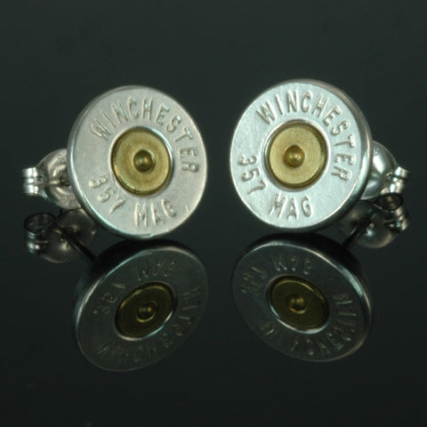 .357 Magnum Bullet Earrings, Silver Plated with Brass Primers