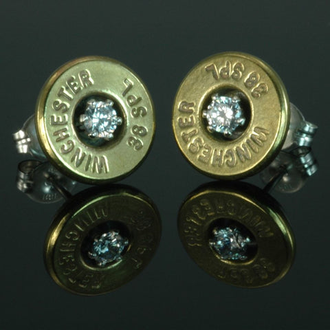 .38 Special Bullet Earrings, Brass with Cubic Zirconia