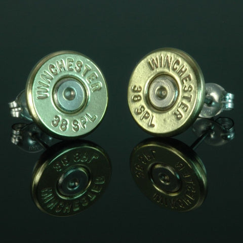 .38 Special Bullet Earrings, Brass with Nickel Primers