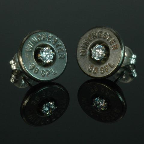 .38 Special Bullet Earrings, Brass Patina with Cubic Zirconia