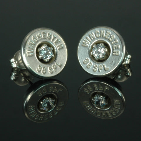 .38 Special Bullet Earrings,Silver Plated with Cubic Zirconia