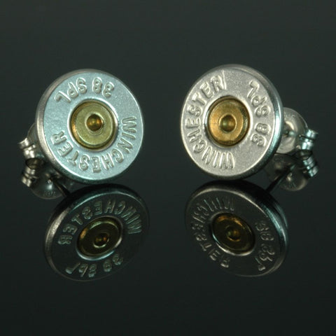 .38 Special Bullet Earrings, Silver Plated with Brass Primers