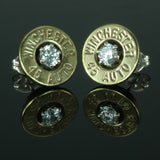 .45 Auto Bullet Earrings, Brass with Cubic Zirconia