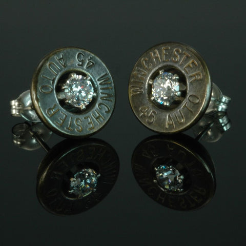 .45 Auto Bullet Earrings,Brass Patina with Cubic Zirconia