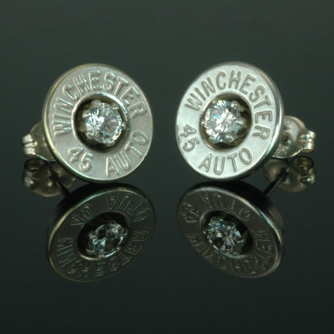 .45 Auto Bullet Earrings, Silver Plated with Cubic Zirconia