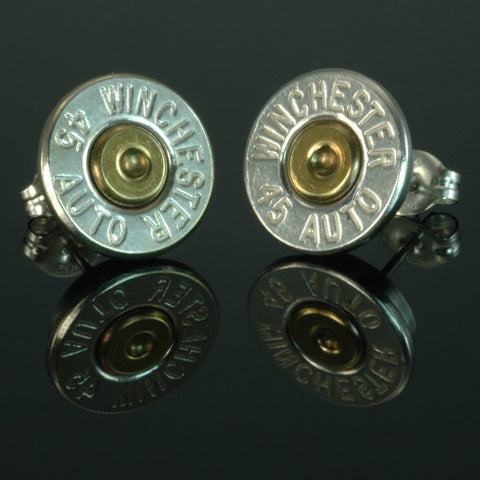 .45 Auto Bullet Earrings, Silver Plated with Brass Primers