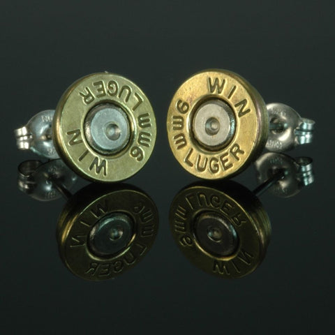 9mm Luger Bullet Earrings, Brass with Nickel Primers